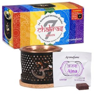 Aromafume 7 Chakra Variety Incense Bricks (Medium) Diffuser, Coaster & Tealight